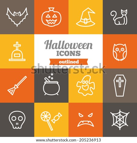 Set of flat Halloween icons  - stock vector