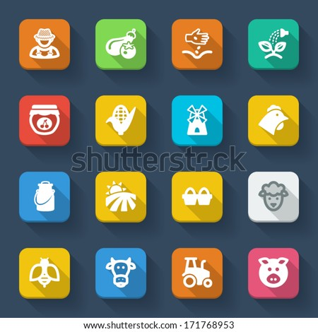 Set of flat icons about farming in a square with long shadow - stock vector