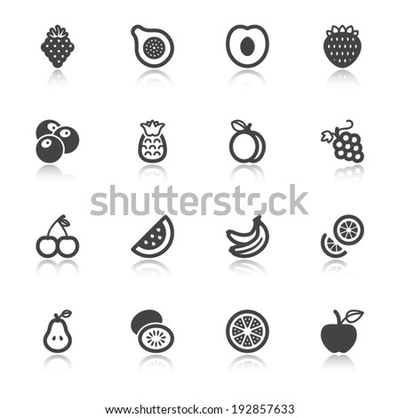 Set of flat icons about fruit with reflection - stock vector