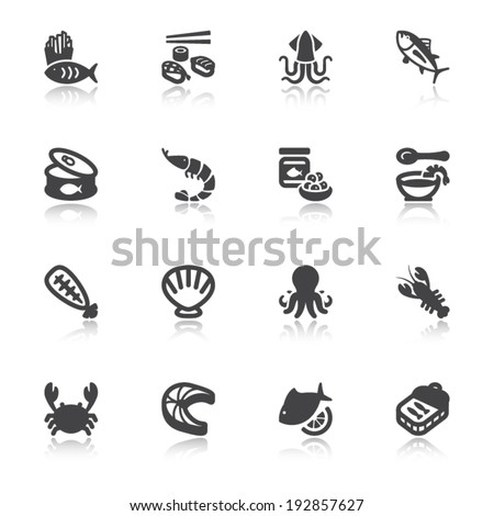 Set of flat icons about seafood with reflection - stock vector