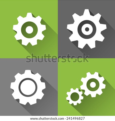 Set of Flat Icons - Cogs Pattern - stock vector