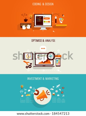 Set of flat Icons for web design, seo, digital marketing and investments.  - stock vector