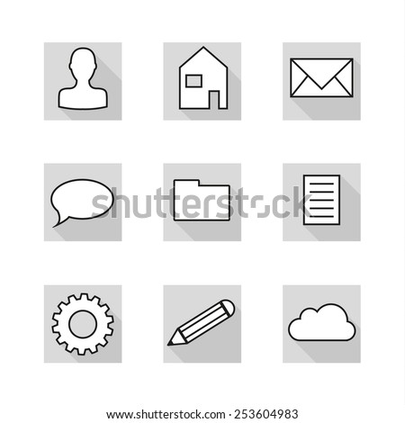 Set of 9 flat icons in neutral colors of greyscale - stock vector