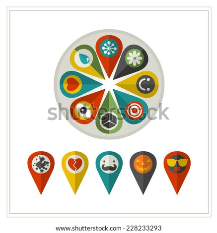 Set of flat icons location. Vector collection in retro style. Vintage sign. - stock vector