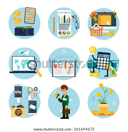 Set of flat icons of earnings, accounts, transport and market analysis, online business, documents, e-mail, idea, start up, analysis, meeting, performance, investment, marketing - stock vector