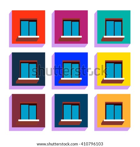 Set of 9 flat icons of windows. Ideal for business, flyers - stock vector