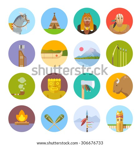 Set of flat icons on the theme of the life of native Americans. Wild West. The development of America. - stock vector