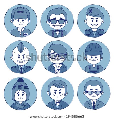 Set of flat icons with characters on blue background. Different professions . Flat design. - stock vector