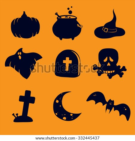 Set of flat icons with halloween symbols. Vector illustration. Halloween design elements. Pumpkin, cauldron potion, witches hat, ghost, gravestone, scull and bones, grave with cross, moon, bat - stock vector