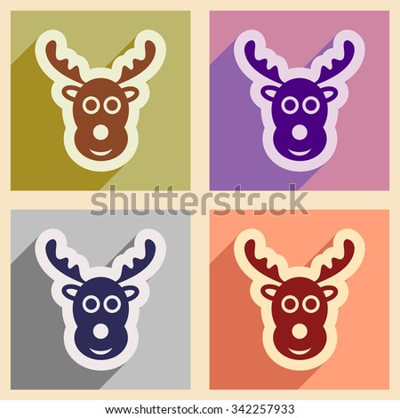 Set of flat icons with long shadow Christmas deer  - stock vector