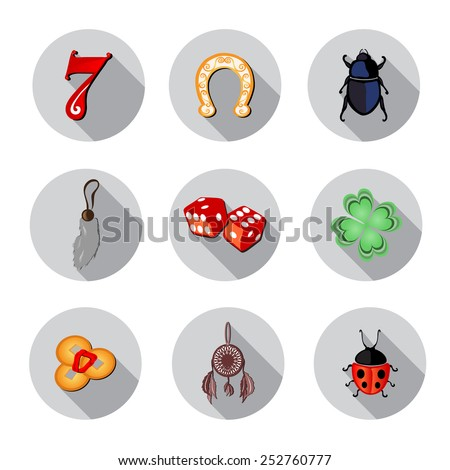 set of 9 flat icons with symbols of luck, design elements - stock vector