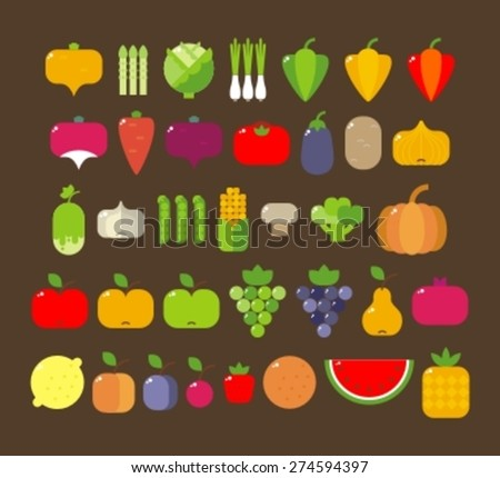 set of flat images of fruit and vegetables - stock vector