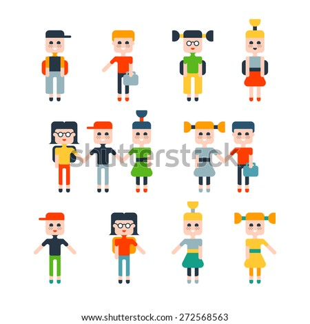 Set of flat isolated children, schoolboys and schoolgirls.  - stock vector