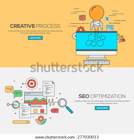 Set of Flat Line Banners Design Concept for Creative process and Seo optimization. Concepts web banner and printed materials.Vector - stock vector
