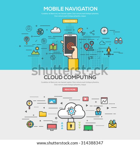 Set of Flat Line Color Banner Design Concept for Mobile Navigation and Cloud Computing. Concepts web banner and printed materials.Vector - stock vector