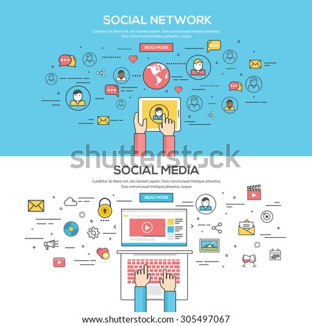 Set of Flat Line Color Banners Design Concept for Social Network and Social Media. Vector - stock vector