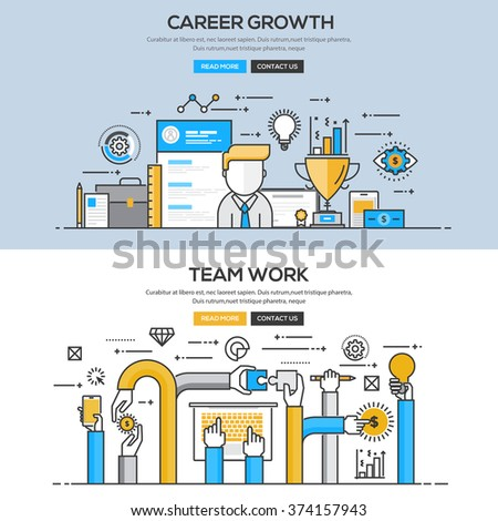 Set of Flat Line Color Banners Design Concepts for Career Growth and Team Work. Vector - stock vector