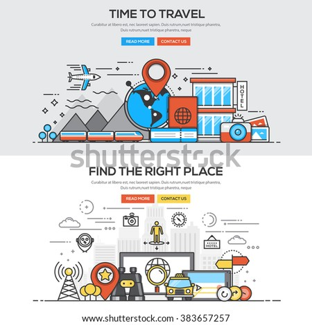 Set of Flat Line Color Banners Design Concepts for Time to Travel and Find the right Place. Vector - stock vector