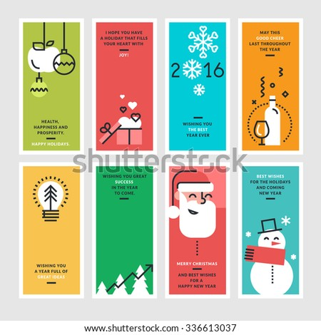 Set of flat line design concepts for New Year and Christmas greeting cards and banners. - stock vector
