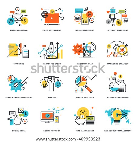Set of flat line design icons of internet marketing and online business. Vector illustration concepts for graphic and web design and development, isolated on white. - stock vector