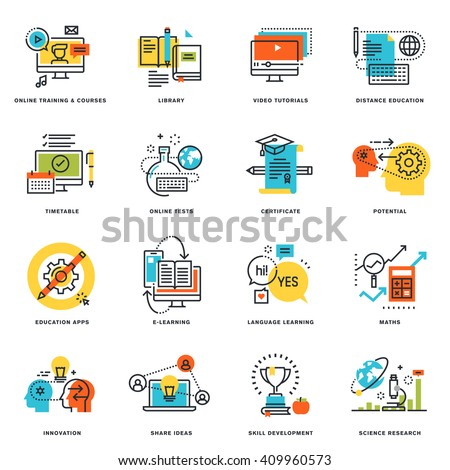 Set of flat line design icons of online education and e-learning. Vector illustration concepts for graphic and web design and development, isolated on white. - stock vector