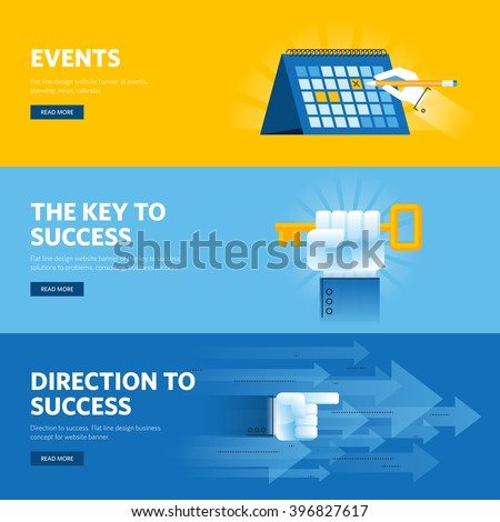 Set of flat line design web banners for business success, strategy, organization, news and events. Vector illustration concepts for web design, marketing, and graphic design. - stock vector