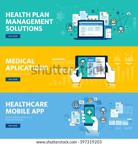 Set of flat line design web banners for healthcare mobile app, health plan management solutions. Vector illustration concepts for web design, marketing, and graphic design. - stock vector