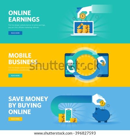 Set of flat line design web banners for online earning, pay per click, mobile business, m-commerce. Vector illustration concepts for web design, marketing, and graphic design. - stock vector