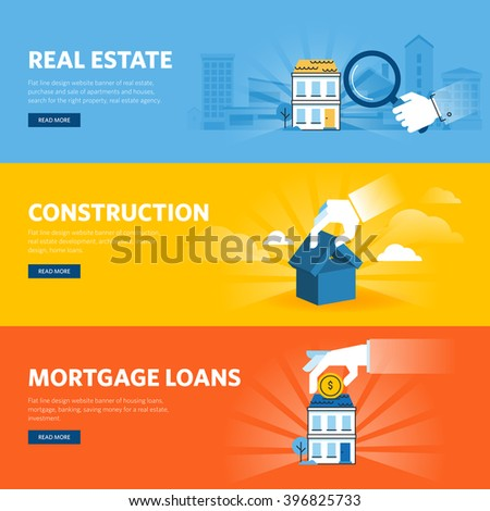 Set of flat line design web banners for real estate, construction, architecture and interior design, mortgage loans. Vector illustration concepts for web design, marketing, and graphic design. - stock vector