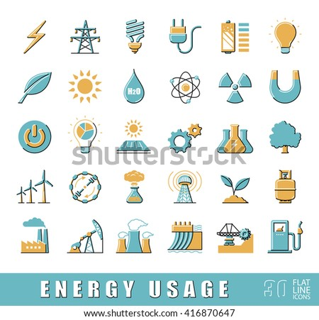 Set of flat line energy icons. Various energy sources. Various kinds of energies for use in industry and everyday life. Solar energy, bio alternative, fuel, electricity, nuclear, wind power, gas.  - stock vector