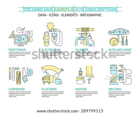 Set of Flat line icon & infographic design concept. - stock vector