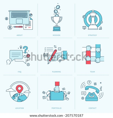 Set of flat line icons for business. Icons for company strategy, planning, teamwork, portfolio, organization, management, marketing, contact information.  - stock vector