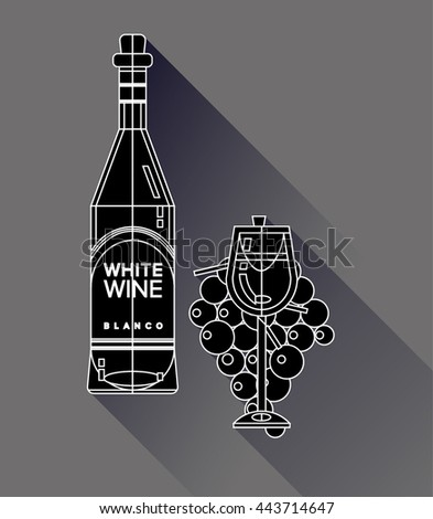 Set of flat line modern alcohol wine icons for restaurant and food menu. Bottles and glasses of delicious white blanco wine with glass of whine wine in front of bunch of grapes - stock vector