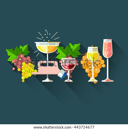 Set of flat line modern alcohol wine icons for restaurant and food menu. Bottles and glasses of red wine, white blanco wine, rose wine, sparkling wine and champagne with bunch of grapes - stock vector