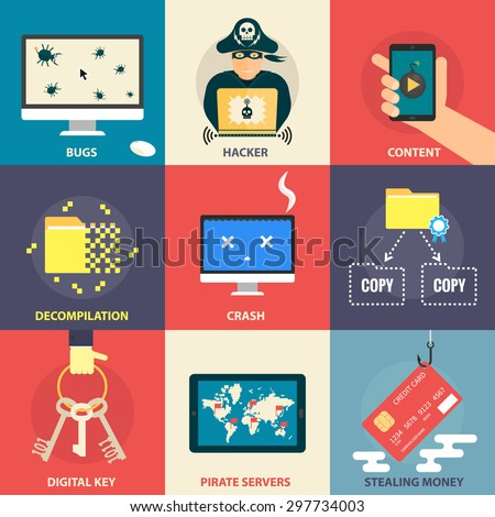 Set of flat modern icons - computer pirate, hacking, hacker, malware, stealing money, software bugs, digital key, errors. Design elements for web, mobile applications, infographics. - stock vector
