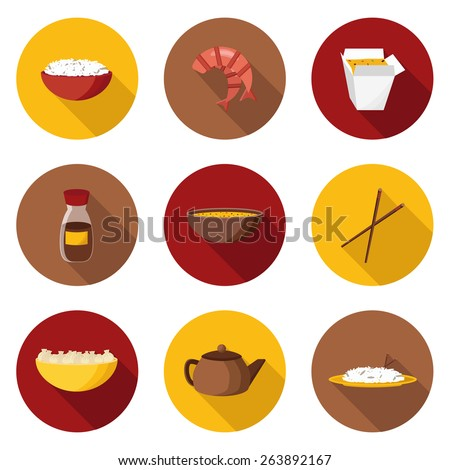 Set of flat objects on chinese cuisine theme for your design - stock vector