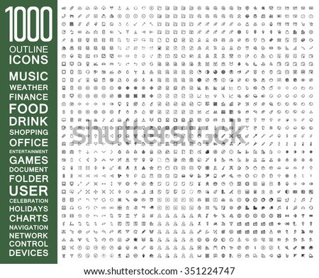 Set of 1000 Flat Outline Icons ( Music, Weather, Finance, Food, Drink, Shopping, Office, Entertainment, Games, Document, Folder, User, Celebration, Holidays, Charts, Navigation, Network and more ) - stock vector