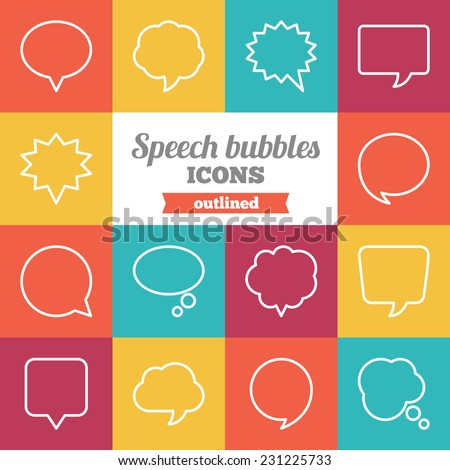 Set of flat outlined speech bubbles and dialog balloons icons.  - stock vector
