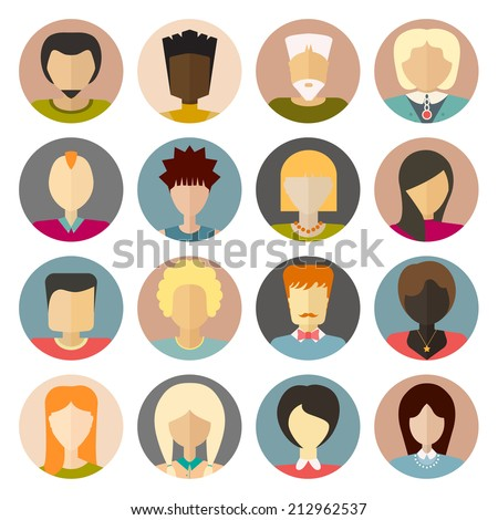 Set of flat people icons. Different faces of people for avatar, profile page, for app or web design made in modern flat style. Vector men, women characters. - stock vector
