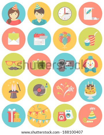 Set of flat round icons of kids birthday party in bright colors - stock vector