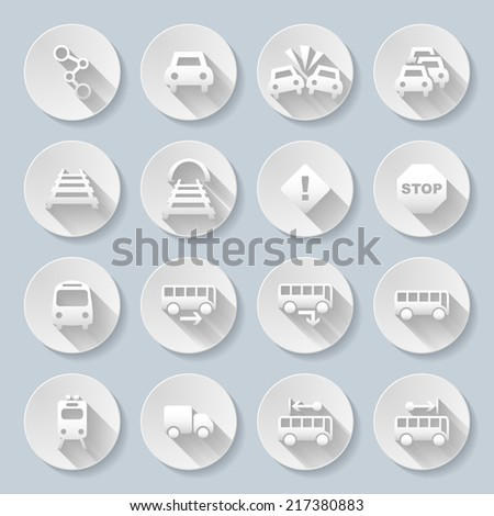 Set of flat round  icons  with transports  on  gray background - stock vector