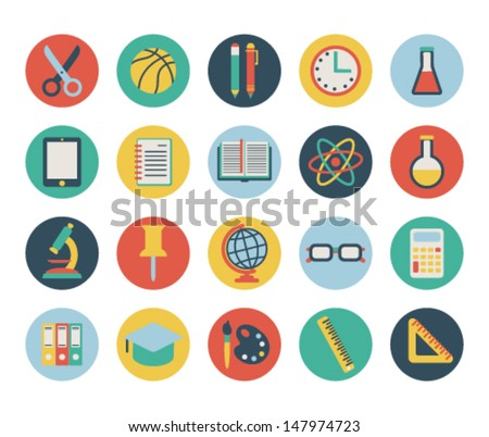 set of flat school icons. isolated on white. - stock vector