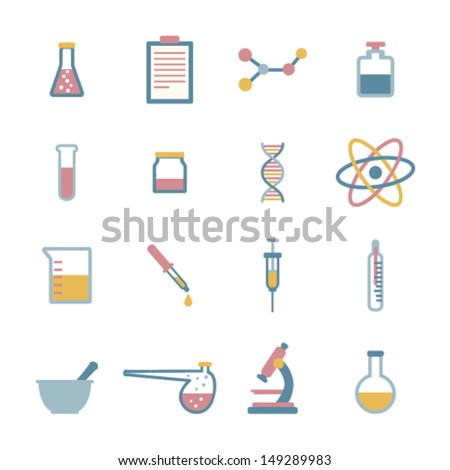 set of flat science icons - stock vector