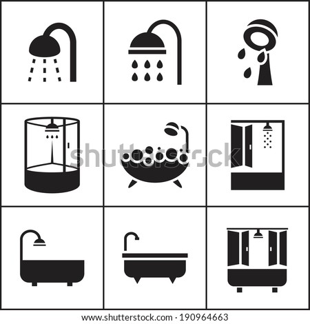Set of flat simple web icons (bathtub, shower, douche ), vector illustration. Icons for house remodel - stock vector
