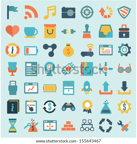 Set of flat social media icons - part 2 - vector icons - stock vector