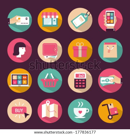 Set of flat style shopping icons - stock vector