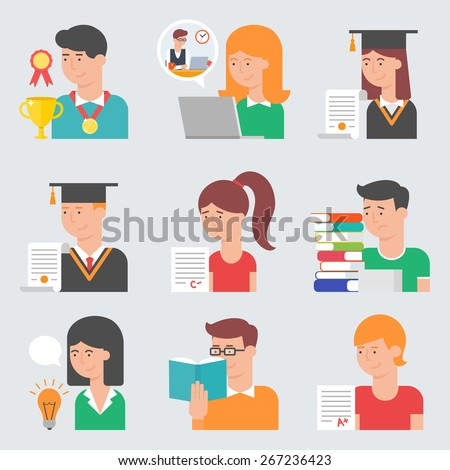 Set of flat style vector education icons. E-learning, online education, graduation, testing, student life - stock vector