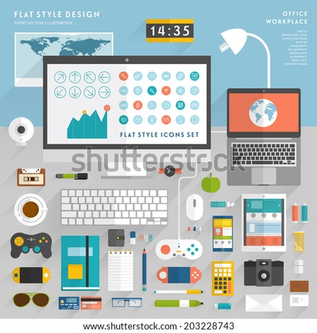 Set of Flat Style Vector Icons. Office Workplace Elements Concept for Business Design. Workflow Items, Office Things, Equipment and Objects. Developer or Designer Workspace. Green apple icon. - stock vector