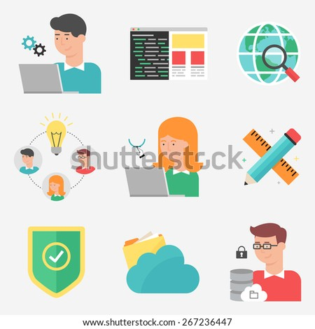 Set of flat style vector information technology and web development icons. - stock vector