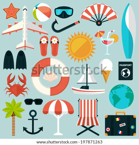 Set of flat summer rest icons. Traveling, tourism, vacation theme - stock vector
